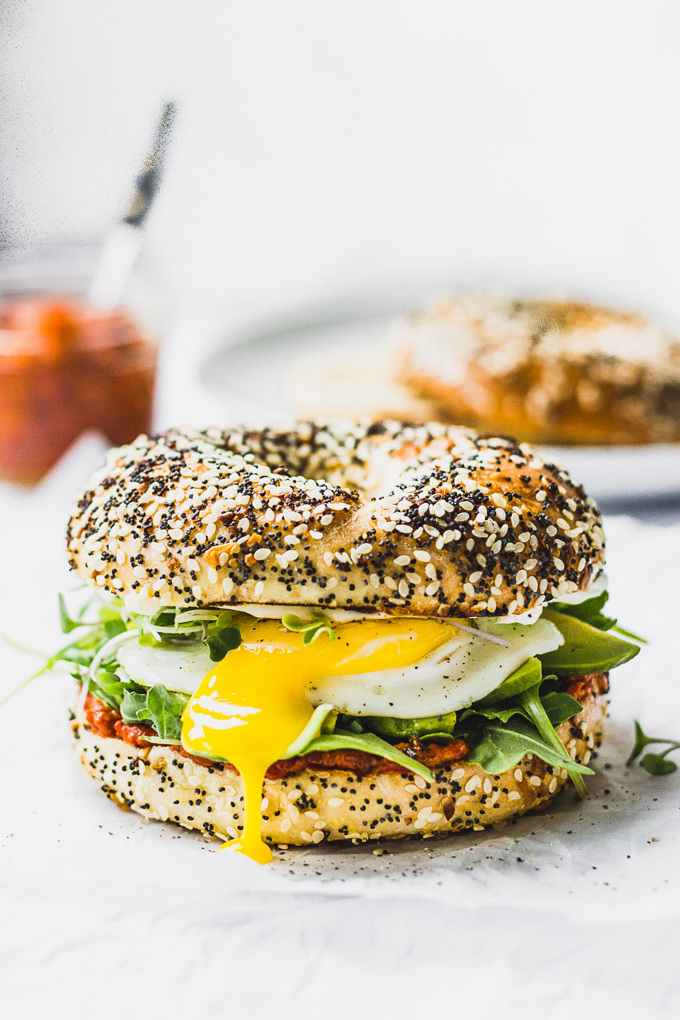 Romesco Breakfast Bagel Sandwich - easy to make and full of flavor! #recipe #forkinthekitchen #brunch #vegetarian | Fork in the Kitchen