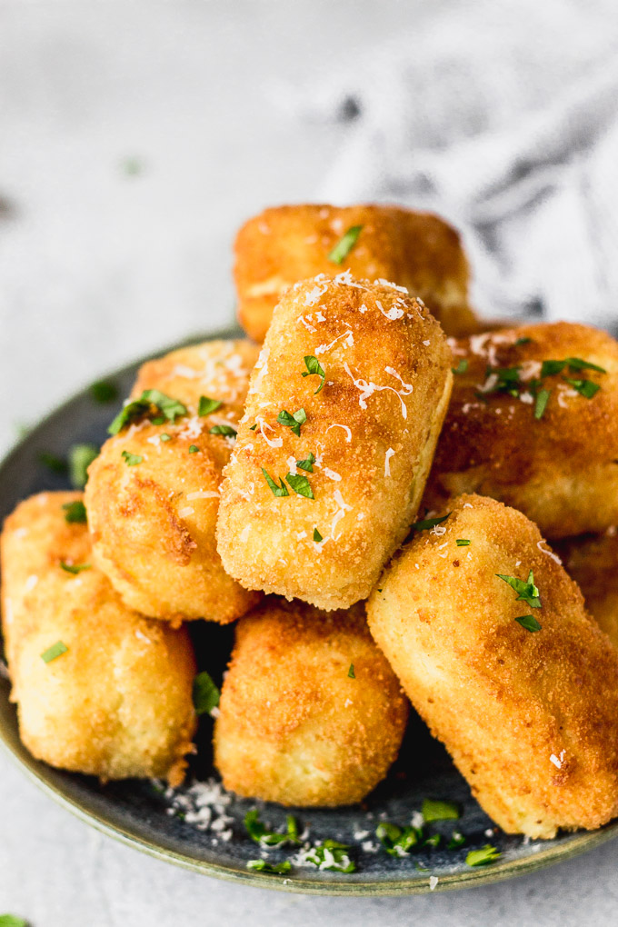pile of potato croquettes on plate