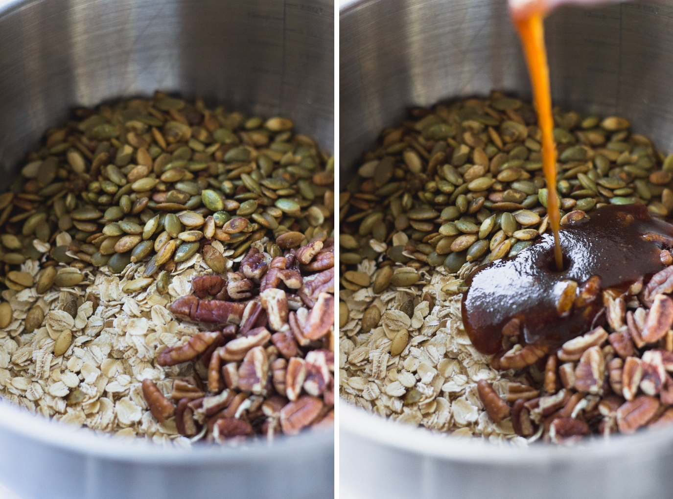 easy autumn spice granola ingredients and pouring into bowl by fork in the kitchen