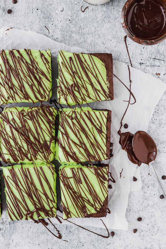 peppermint brownies with mint cream cheese frosting by fork in the kitchen