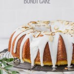 lemon almond bundt cake on wire rack