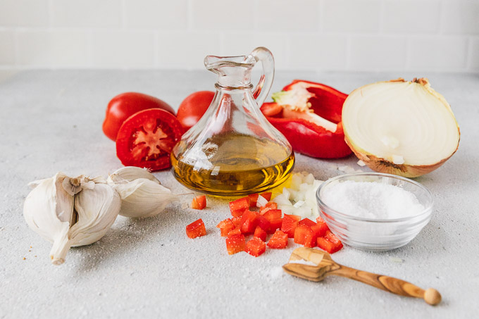 ingredients for tomato onion spread