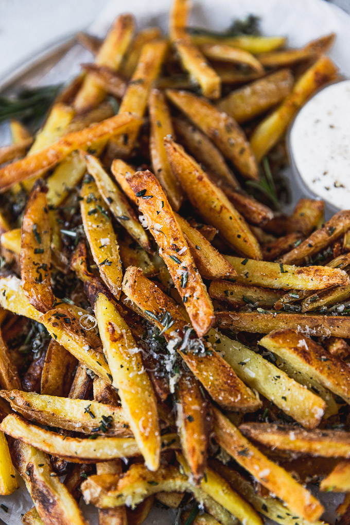 up close rosemary garlic fries