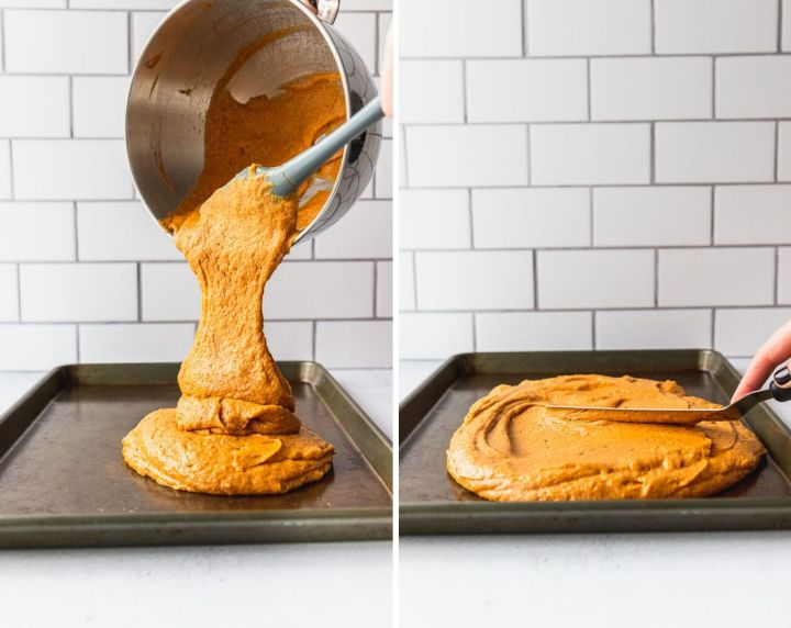 pouring pumpkin bar batter into jelly roll pan