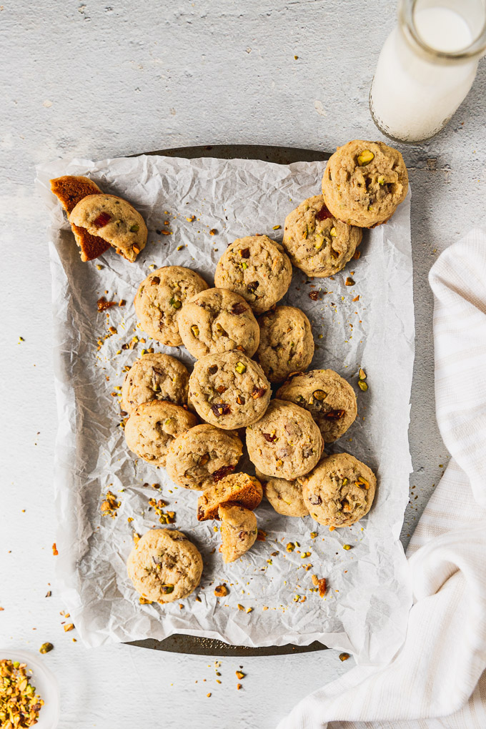 pile of cookies on baking sheet overhead view