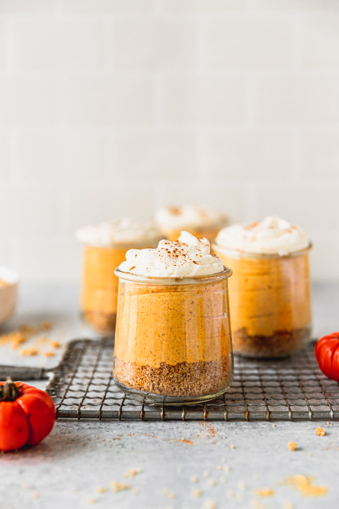 jars of pumpkin mousse on tray