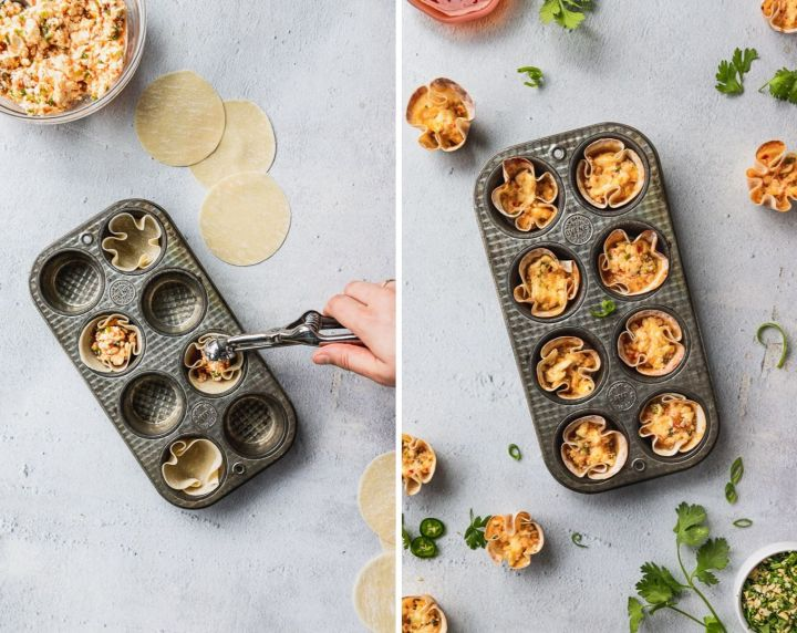 side by side photos of filling wonton cups and the finished baking