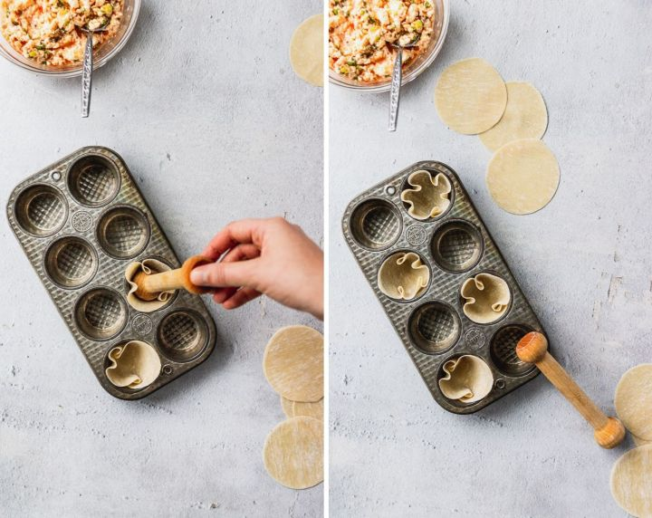 pushing wonton wrappers into mini muffin tin side by side process