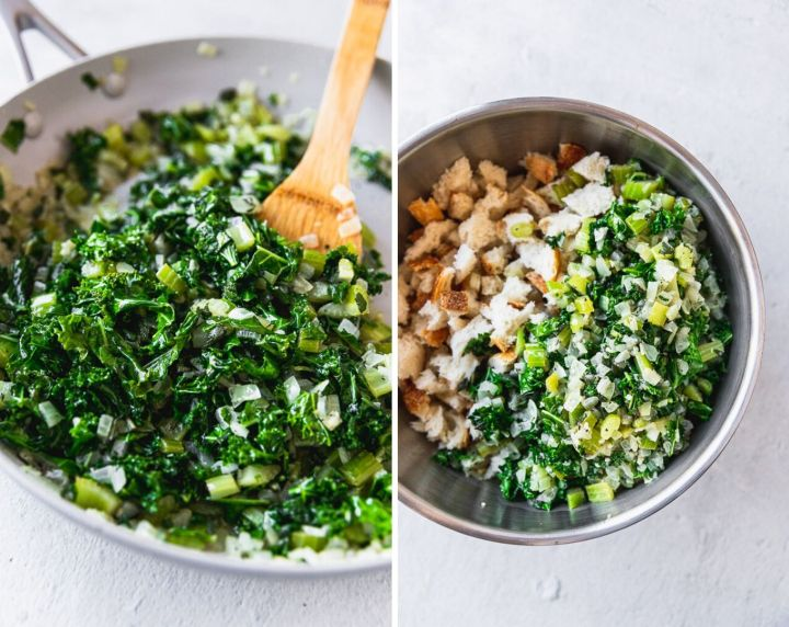 side by side photos of kale, onion, and celery mixture then the mixture in a bowl with bread cubes