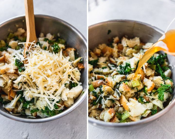 side by side photos of mixing bowl adding gruyere cheese to vegetarian stuffing and pouring vegetable stock into stuffing