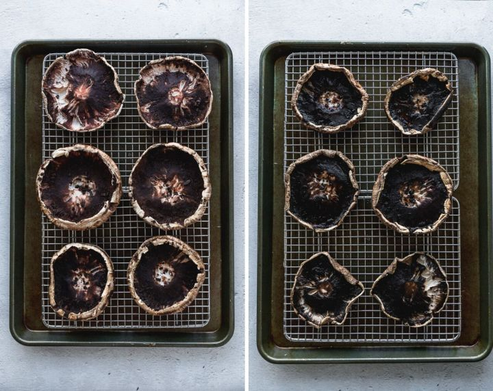 side by side mushrooms on cooling rack on baking sheet before and after pre-baking