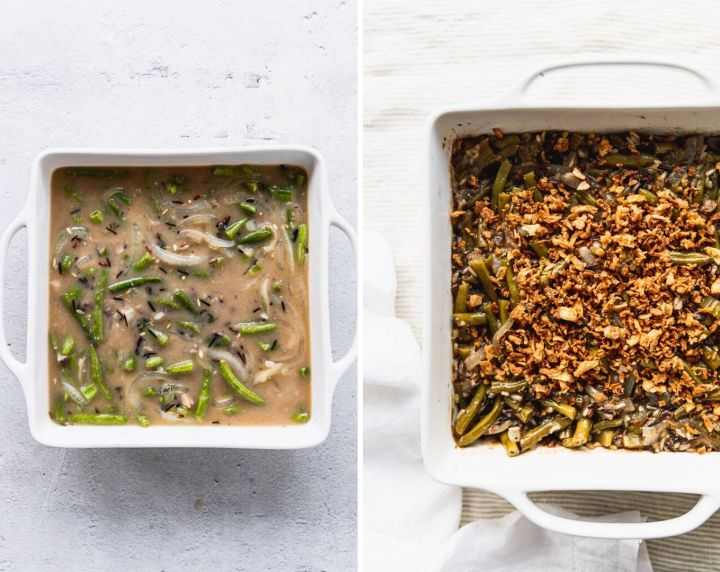 side by side photos of unbaked casserole and baked casserole with crispy onions on top