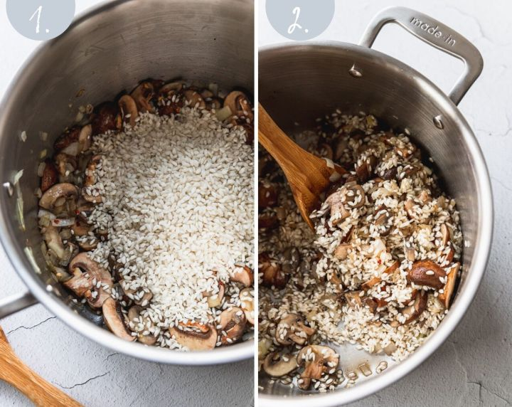 side by side photos of arborio rice going into mushroom mixture in stock pot