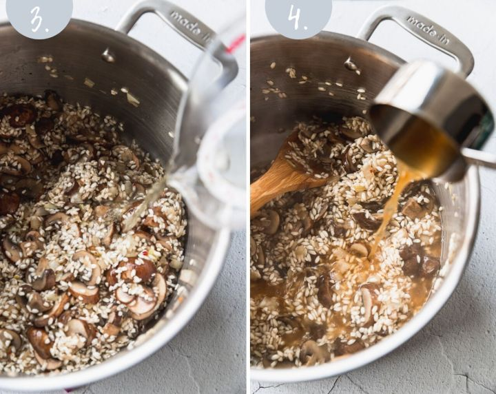 side by side photos pouring wine and vegetable stock into risotto stock pot