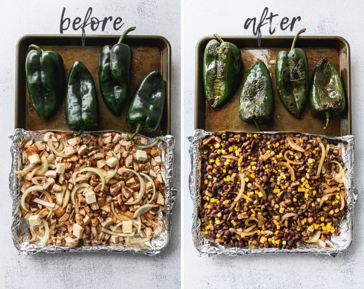 before and after photos of vegetables roasting