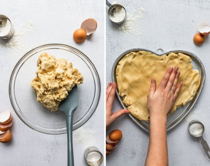 side by side cookie dough and pressing into heart shaped pan