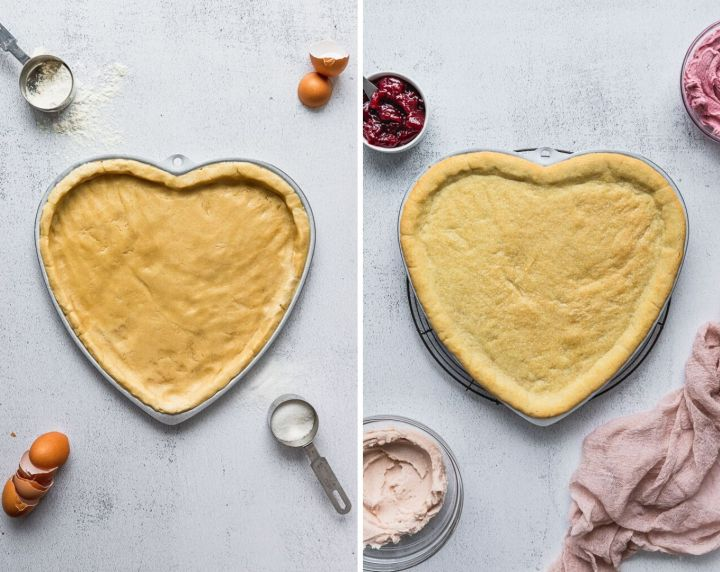 before and after cookie dough in heart shaped pan