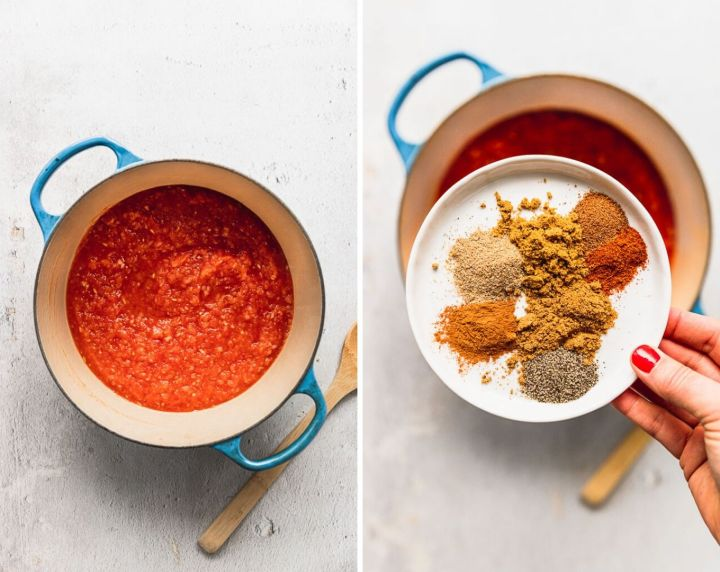 side by side photos of dutch oven with tomato puree next to a photo of hand holding white plate with spices