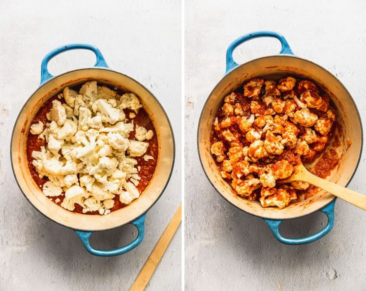 before and after photos of cauliflower first in dutch oven with tomato puree and then cooked in dutch oven with tomato puree