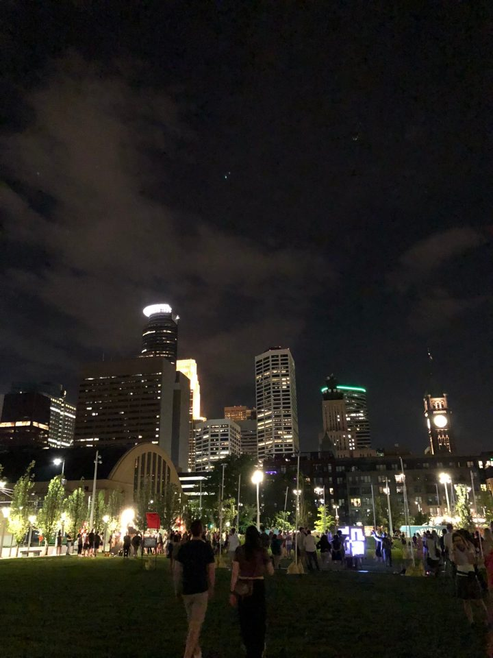 Minneapolis skyline at night from The Commons park.