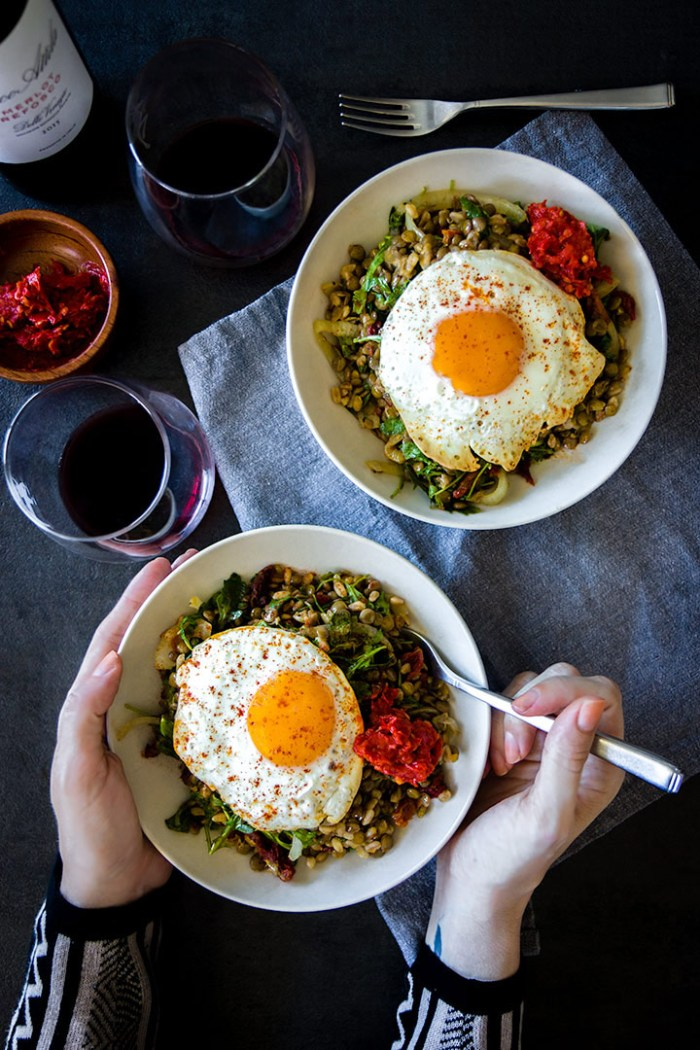 Easy Lentil Bowl with Sunny Egg & Spicy Harissa
