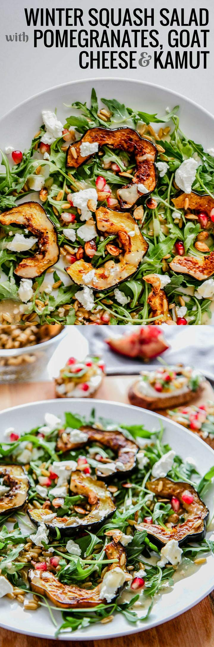 Winter Squash Salad with Pomegranates, Goat Cheese & Kamut, a fresh winter salad with arugula and winter vegetables and fruit. Who said winter produce is boring?