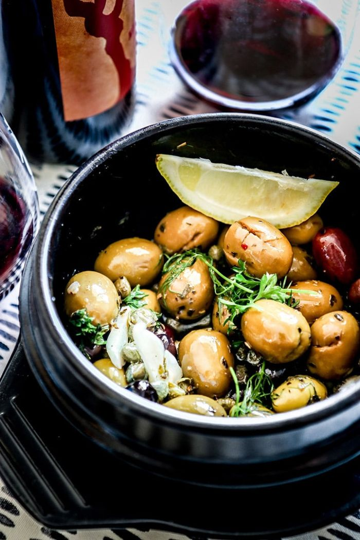 Warm Marinated Olives, Capers + Garlic