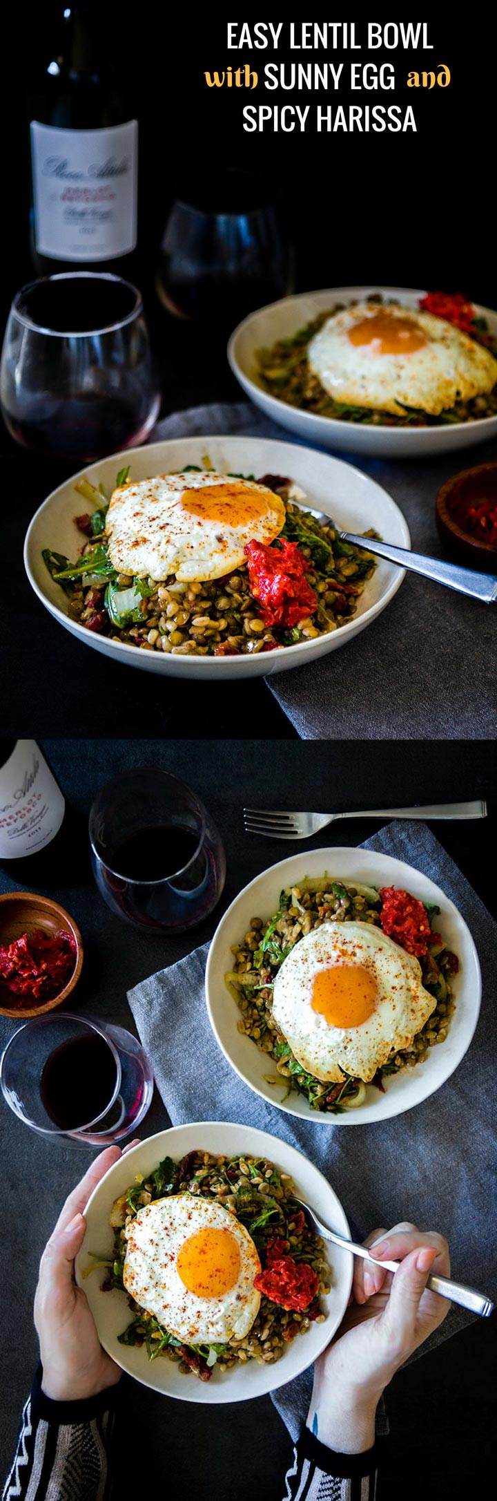 Easy Lentil Bowl with Sunny Egg & Harissa, a simple lentil bowl with farro, onion, arugula and sun dried tomatoes topped with a sunny egg and spicy harissa.
