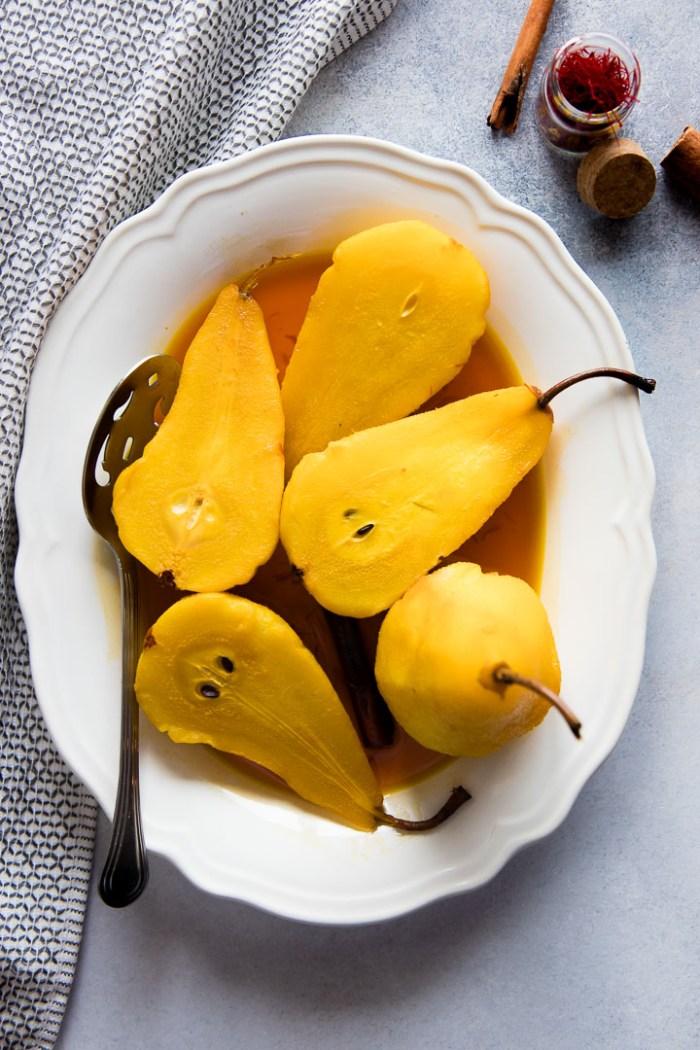 Saffron Poached Pears {20 Minute Decadent Dessert!}
