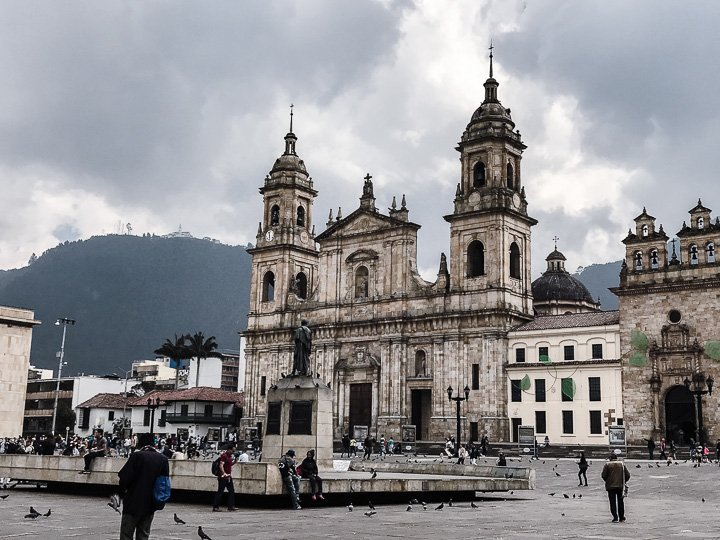 A view of Bogota Cathedral from Plaza Bolivar.
