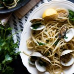 Pasta with Clams in White Wine Garlic Sauce, a new take on the classic Spaghetti alle Vongole made with bucatini and littleneck clams in a white wine garlic sauce.