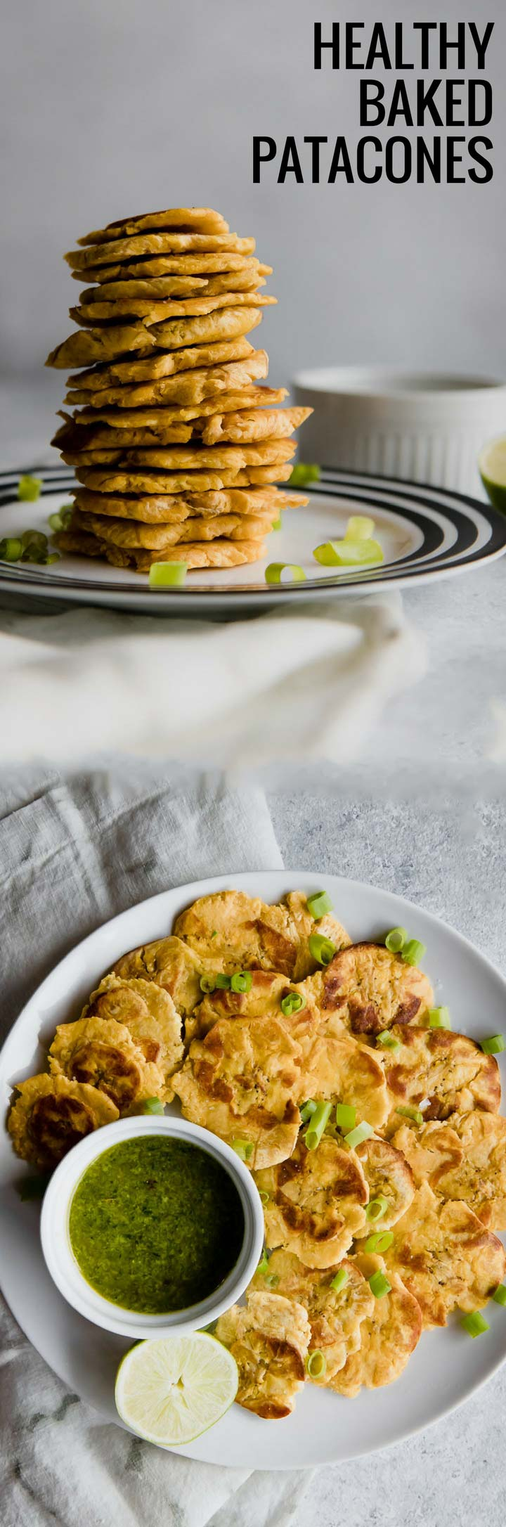 Healthy Baked Patacones with Mojo Sauce, a healthy take on the classic fried Colombian patacones (or sometimes called tostones). Smashed plantains baked and served with spicy mojo herb sauce. Delicioso!