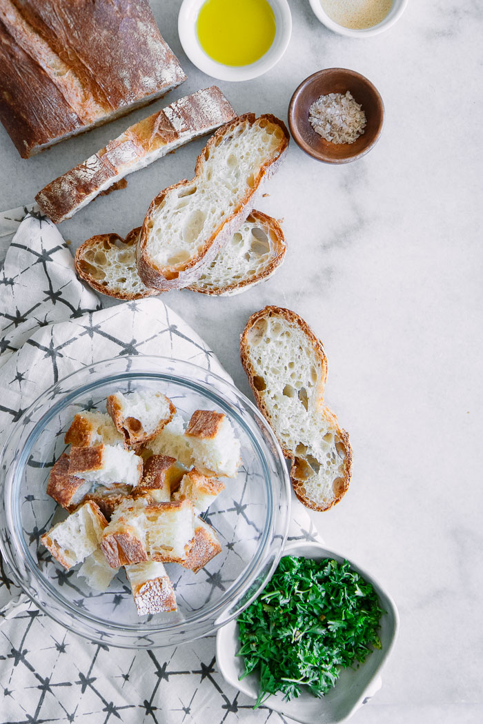 Homemade Garlicky Ciabatta Croutons