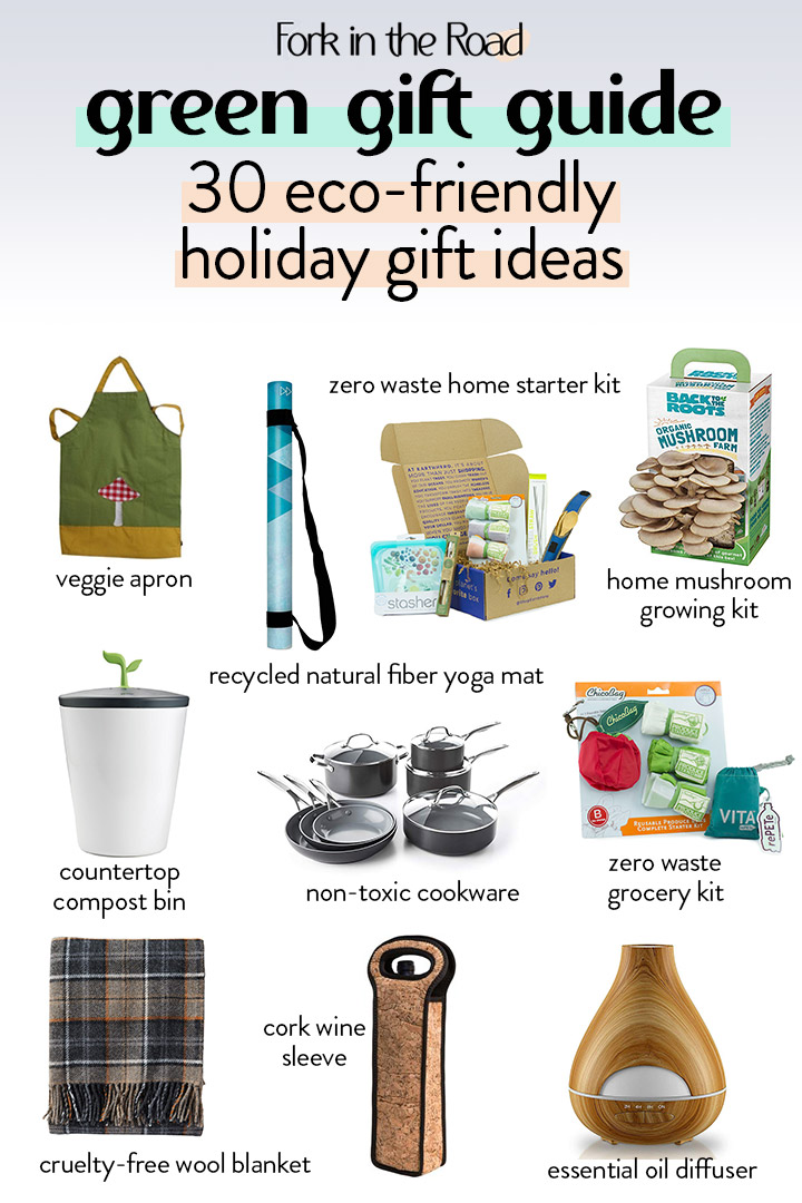 sustainable gift guide ideas on a white background