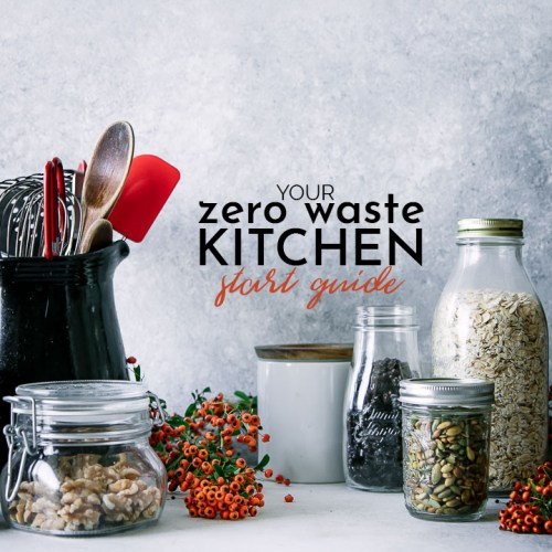 Eco-friendly glass food jars on a kitchen counter