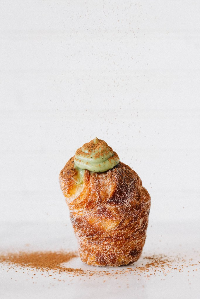 matcha cruffins fork to belly