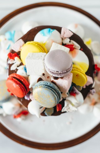 vanilla bean cake macarons marshmallows meringues fork to belly