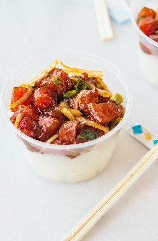 shoyu ahi poke fork to belly