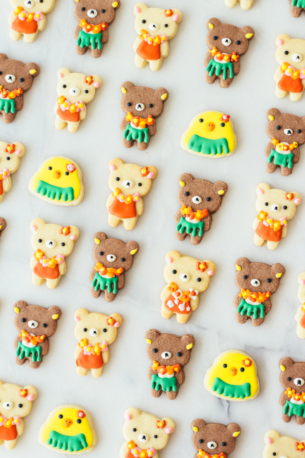aloha rilakkuma cookies fork to belly