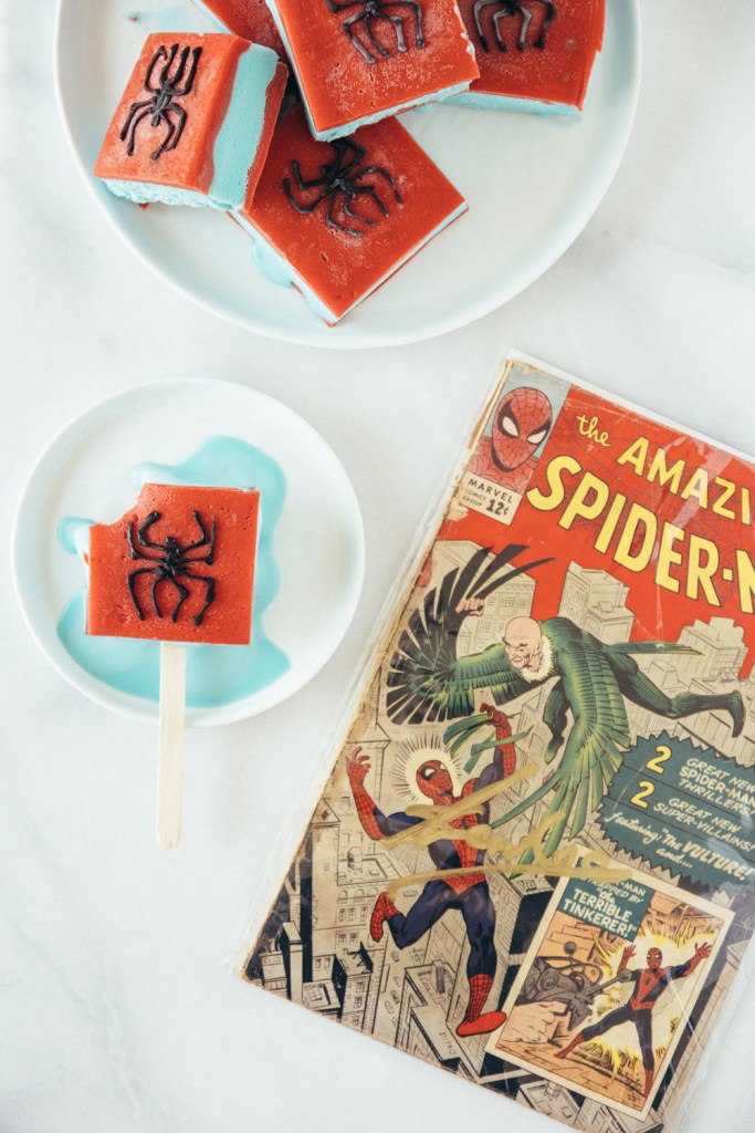 spiderman cookie dough ice cream popsicles