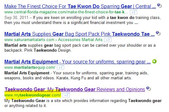 google ranking for mytaekwondogear.com