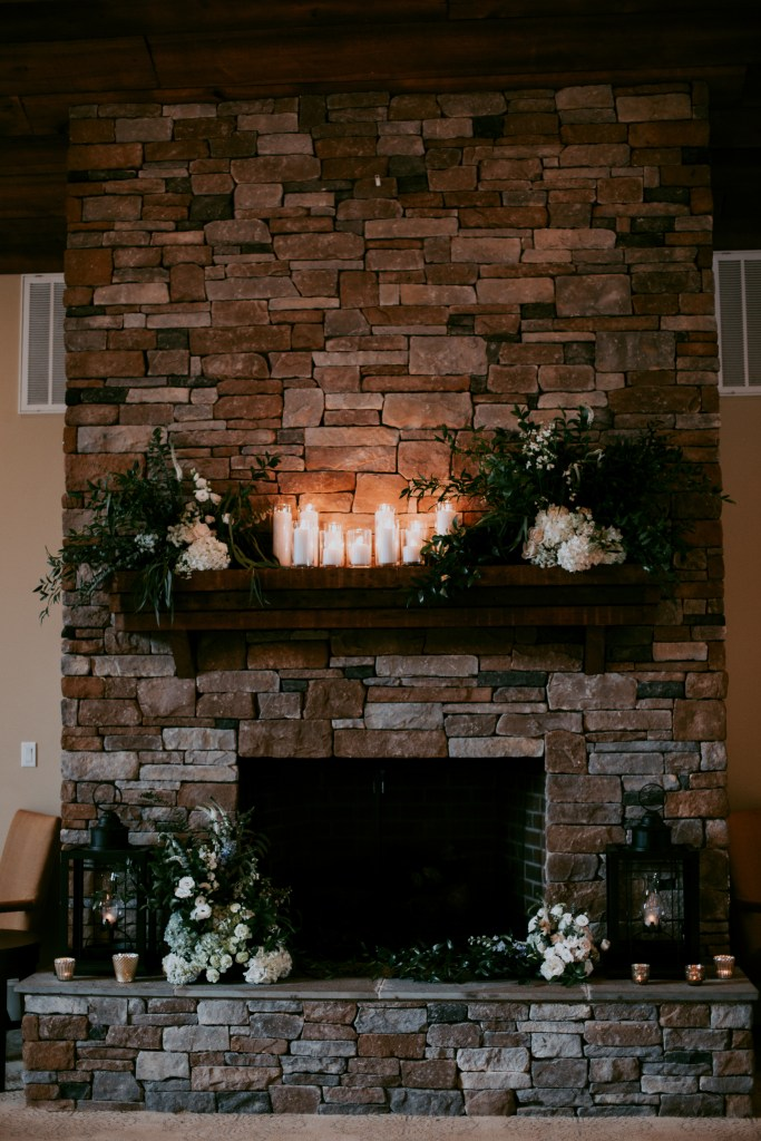 Spring Wedding Fireplace Details