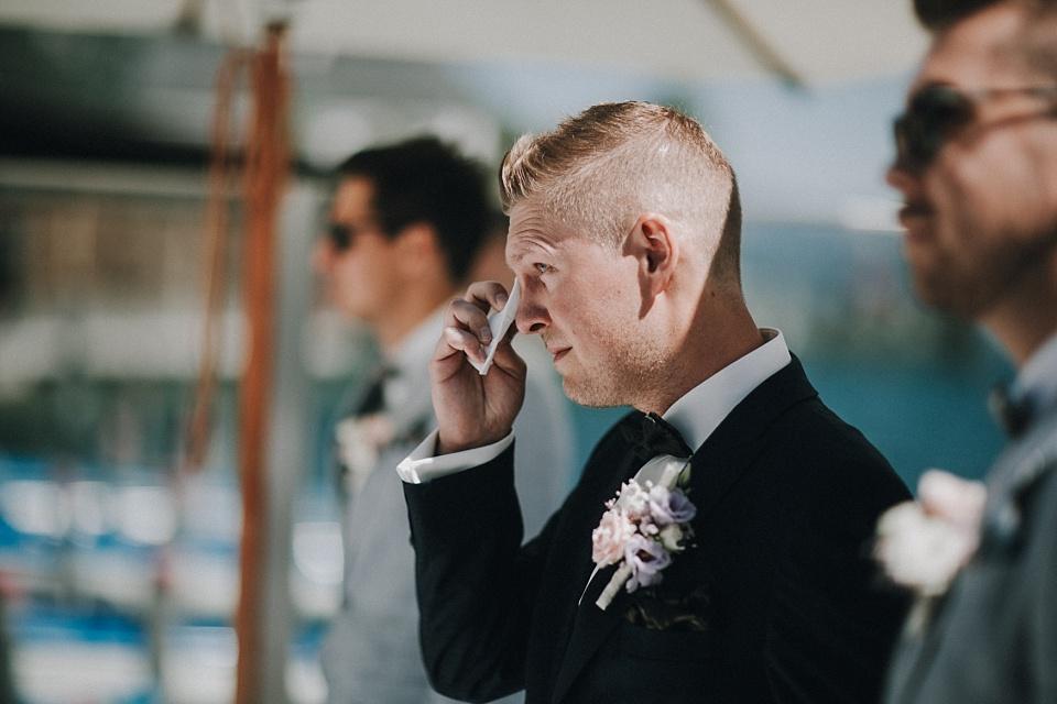 Hochzeit am Achensee, Strandhotel Entners, Bräutigam, Freudentränen
