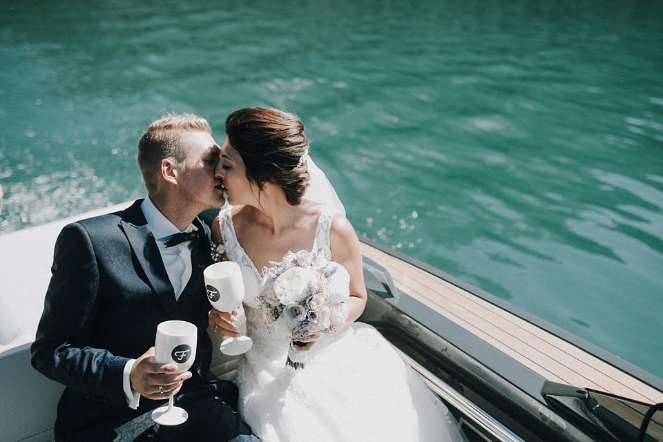 Hochzeit am Achensee, Paarshooting, Boot, Braut, Bräutigam