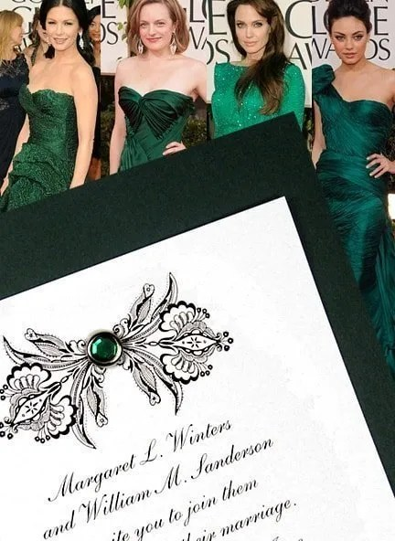 DIY Emerald Green Wedding Invitations with Jewel Brad