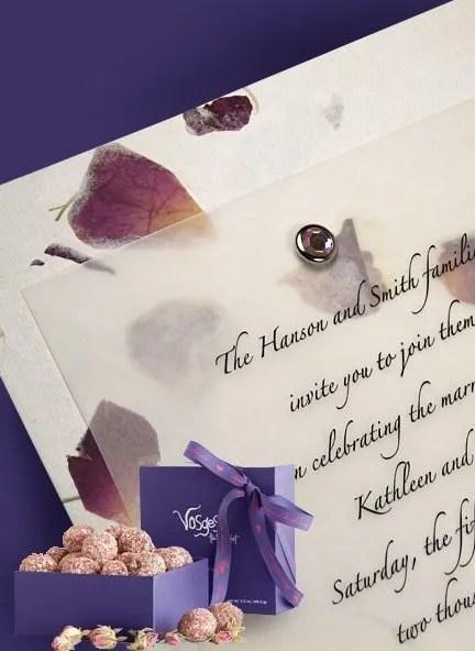 Handmade Rose Petal Paper Invitations with Crystal Brad