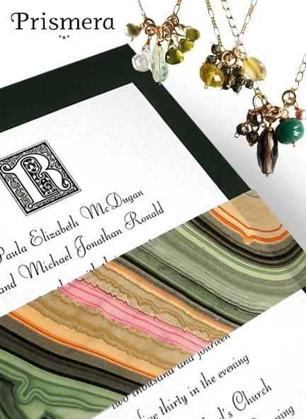 Forest Green Invitations with Marbled Wrap