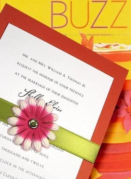 Papaya Orange Wedding Invitations with Flower Belt