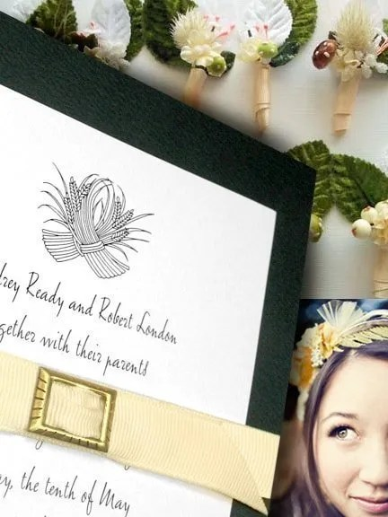 DIY Forest Green Invitations with Grosgrain Belt