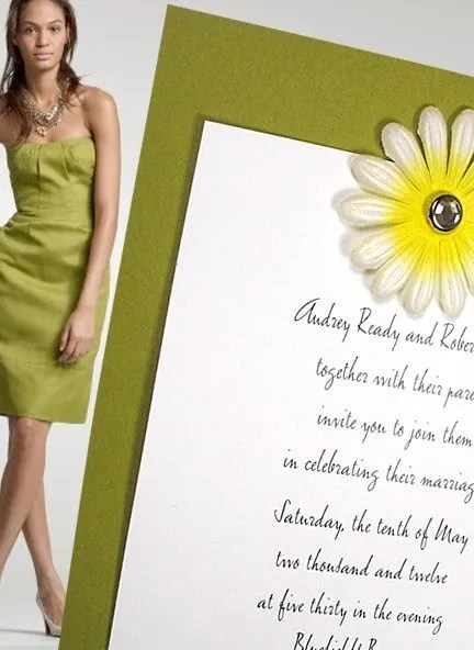 Chic Apple Green Wedding Invitations with Embossed Flower